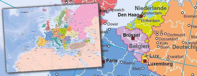 Europakarte Vektor, Karte Europa Vektor flächentreu