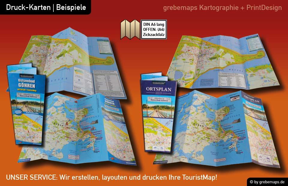Ortsplan erstellen, Ortsplan layouten, Ortsplan drucken, Landkarte erstellen, Ortsplan Göhren
