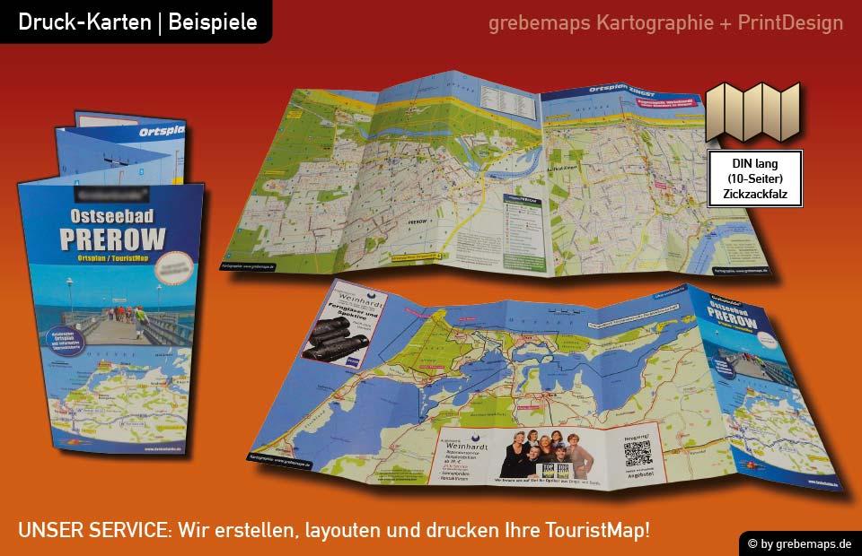 Ortsplan erstellen, Ortsplan layouten, Ortsplan drucken, Landkarte erstellen, Ortsplan Prerow
