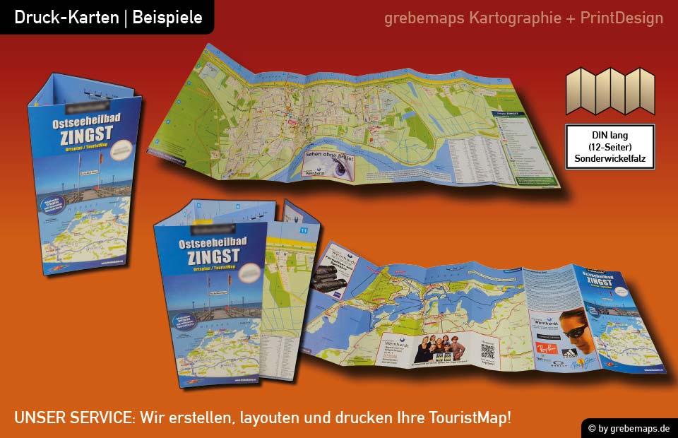 Ortsplan erstellen, Ortsplan layouten, Ortsplan drucken, Landkarte erstellen, Ortsplan Zingst