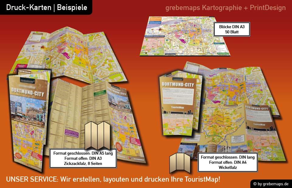 Ortsplan erstellen, Ortsplan layouten, Ortsplan drucken, Landkarte erstellen, Ortsplan Dortmund-City