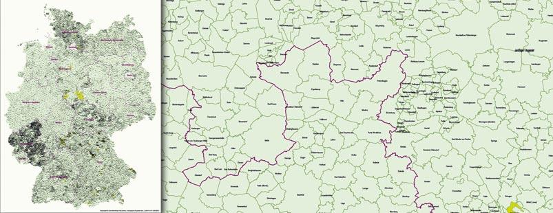 Gemeindekarte Deutschland, Landkreiskarte Deutschland Vektor