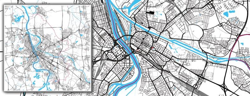 Linienkarte erstellen, Verkehrswegekarte erstellen, Stadtkarte mit Linien erstellen