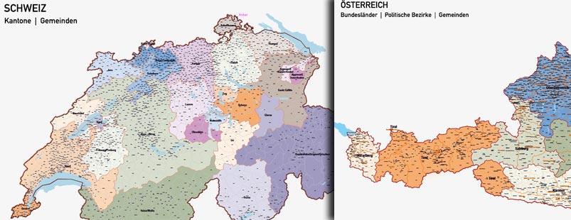Länderkarten Europa, Karte Schweiz Gemeinden, Karte Österreiche Gemeinden