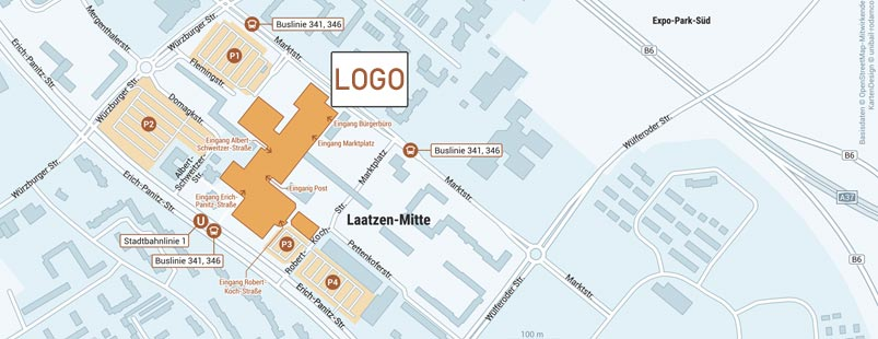 Mikrokarte erstellen für Shopping-Center, Lageplan erstellen