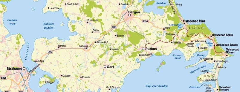 topographische Übersichtskarte erstellen Insel Rügen für touristische Zwecke, topographische Landkarte Rügen, Karte Insel Rügen