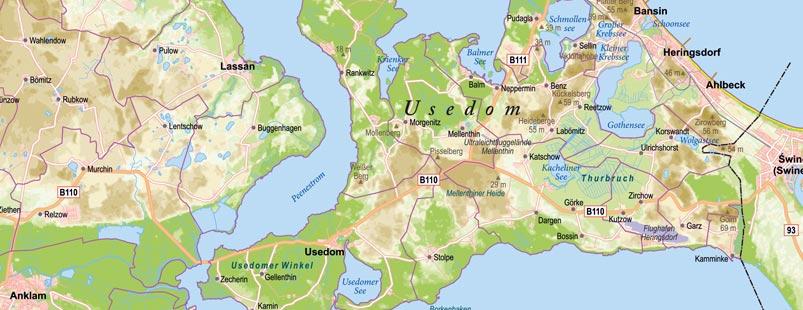 Höhenschichtenkarte Insel Usedom, Karte Insel Usedom Höhenschichten