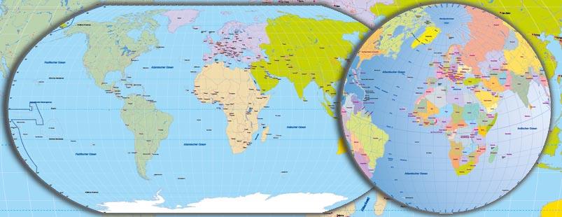 Weltkarte Robinson Vektor, Karte Welt Robinson Vektor