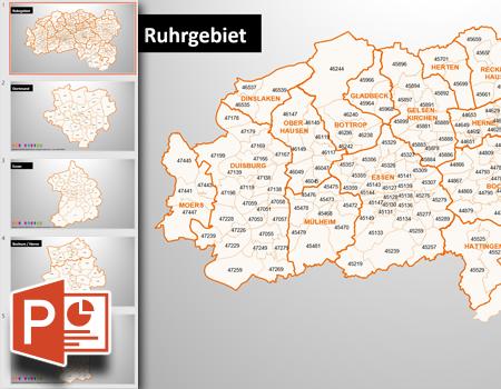 Landkarten für PowerPoint, PLZ-Karte Ruhrgebiet