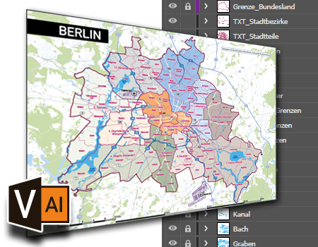 Vektorkarten für Illustrator, Karte Vektor Illustrator, Vektordaten, Karte Berlin Vektor