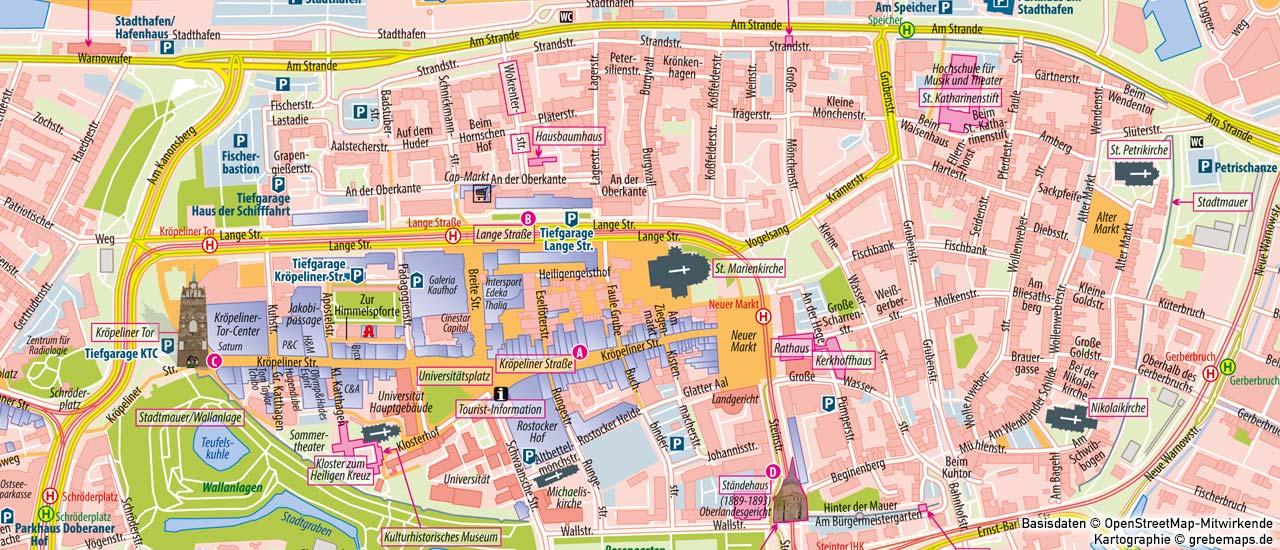 Ortsplan erstellen, Stadtplan erstellen, touristischen Ortsplan erstellen, touristische Karte erstellen, Ortsplan Rostock Innenstadt