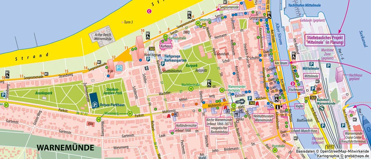 Ortsplan erstellen, Stadtplan erstellen, touristischen Ortsplan erstellen, touristische Karte erstellen, Ortsplan Warnemünde