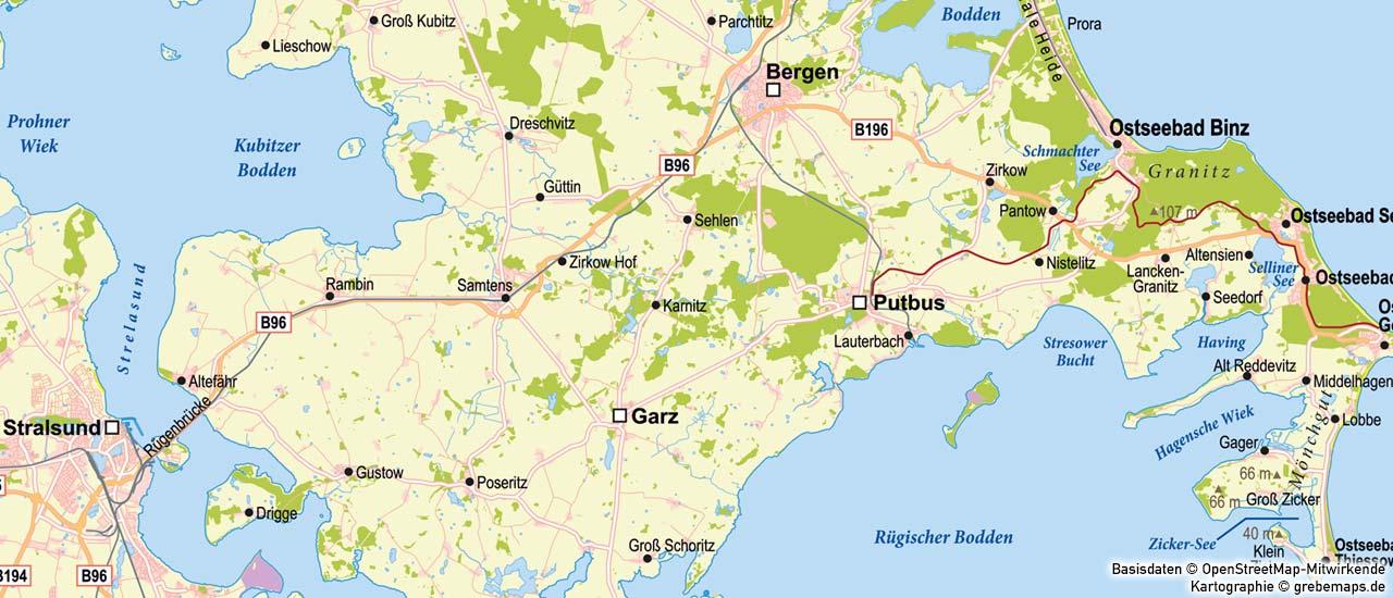 Karte Rügen, Inselkarte Rügen, topographische Karte Rügen erstellen, Basiskarte erstellen, Landkarte erstellen