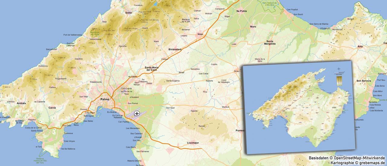Karte Mallorca, Inselkarte Mallorca, Höhenschichtenkarte erstellen, Karte mit Höhenschichten erstellen, Landkarte erstellen