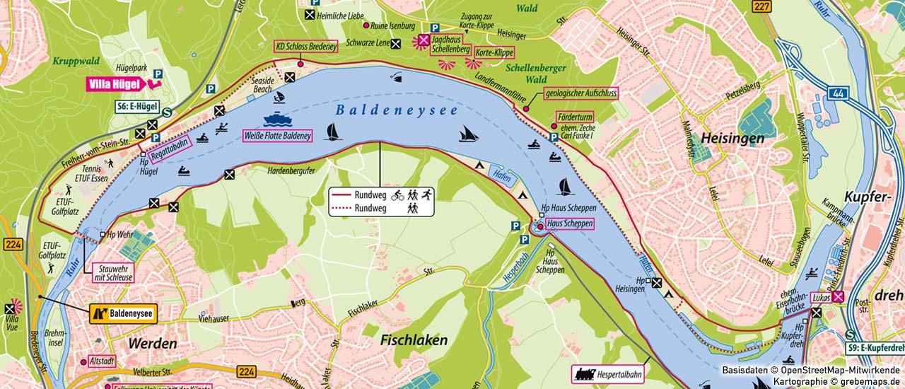 individuelle Kartenherstellung, touristische Karte erstellen Baldeneysee, Karte für Tourismus erstellen, Tourismuskarte erstellen