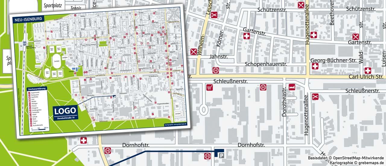Landkarte erstellen, Lageplan erstellen, Karte für Immobilie erstellen, Vektorkarte für Expose erstellen, Karte für Expose erstellen, Standortkarte erstellen