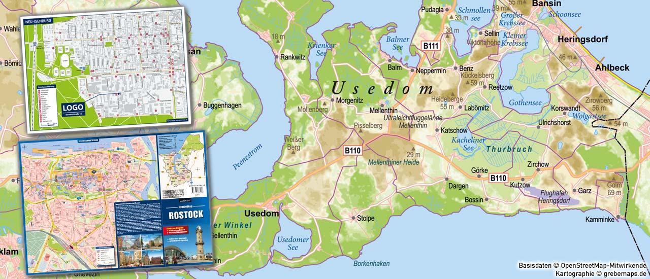Landkarte erstellen, Karte Usedom erstellen, Stadtplan Rostock, Basiskarte erstellen